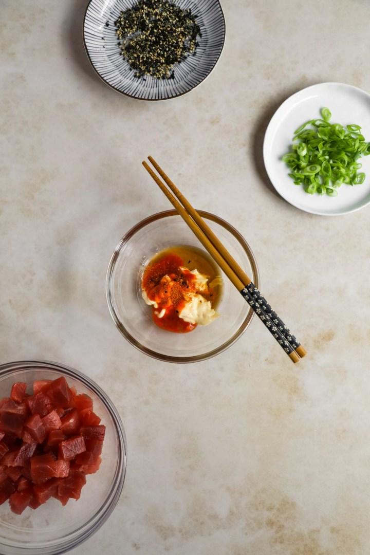 Spicy Kewpie Mayo Sauce. Kewpie Mayo, togarashi, Sriracha, sesame oil, mirin.