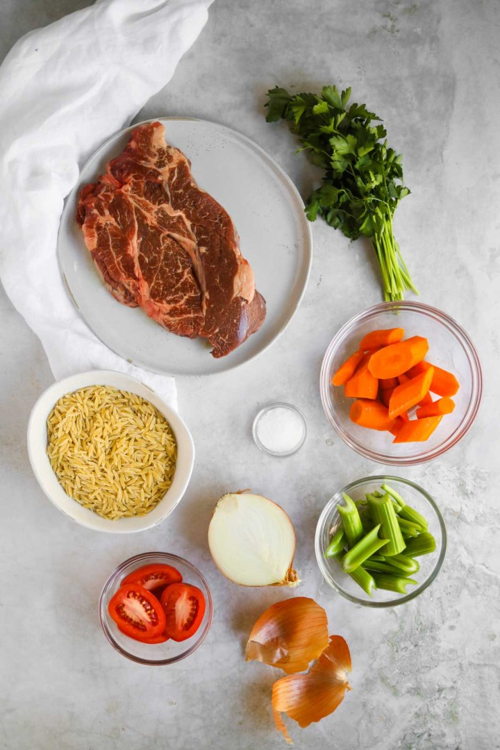 Ingredients for Italian Beef Soup with Orzo.