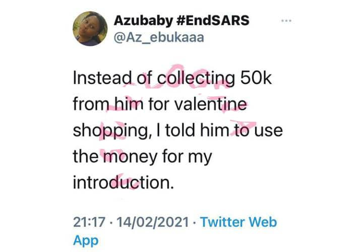 """Instead of sending me N50k for Valentine's day shopping, use it for my Introduction"""" – Lady tells boyfriend"""
