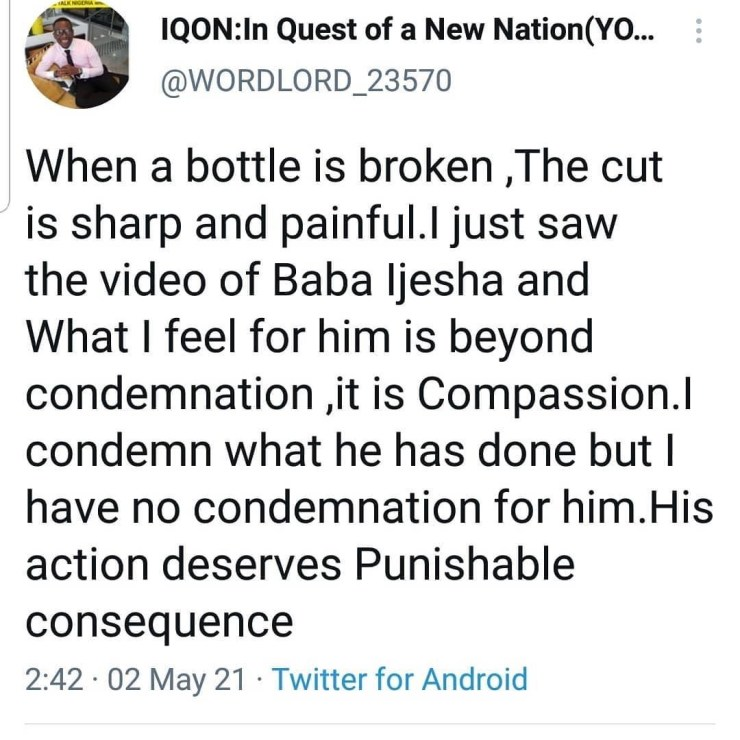 """""""IF WE deal with BABA IJESHA and not deal with the Problem and the REAL issue of CHILD MOLESTATION, Another sick individual will yet molest another child"""" - Abraham Ibunkun"""