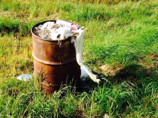Alaska caribou leg in garbage can