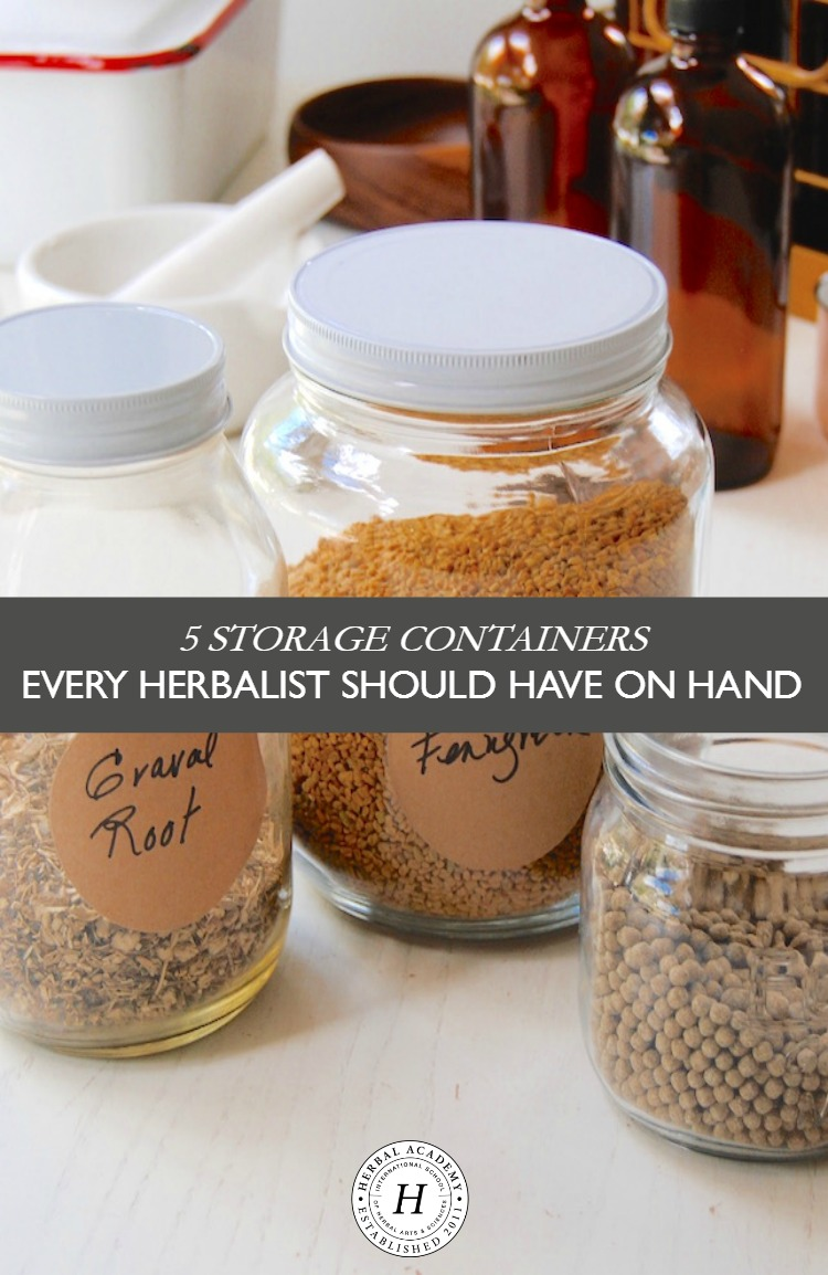 5 Storage Containers Every Herbalist Should Have On Hand | Herbal Academy | Good storage containers are an essential tool for organizing herbs. Let's take a look at 5 types of storage containers to have on hand!