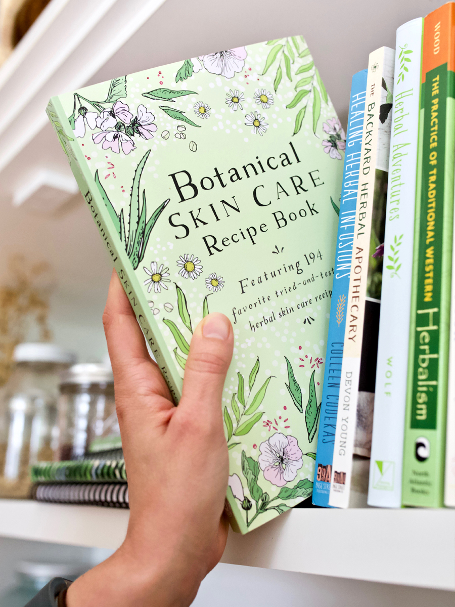 Botanical Skin Care Recipe Book bookshelf by Herbal Academy