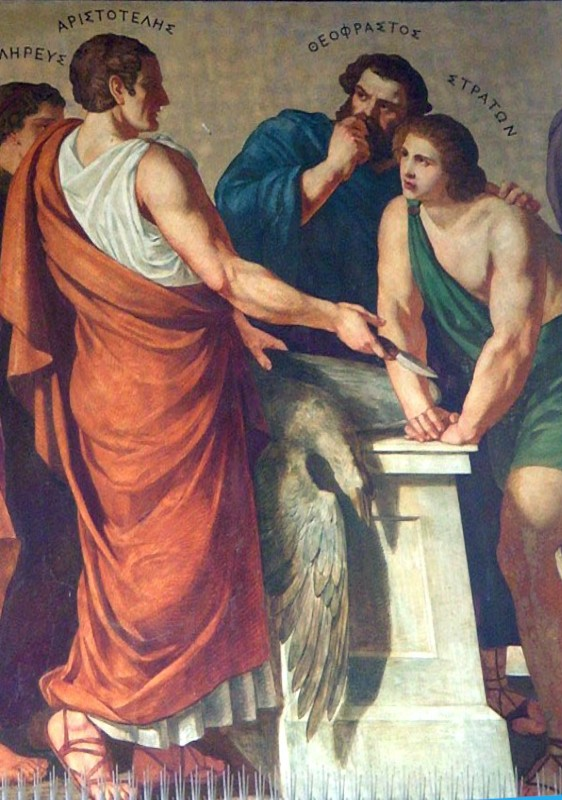 A painting of Aristotle, Theophrastus, and Strato.