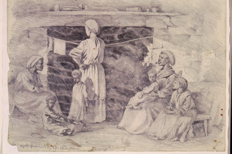 Illustration of slave women sitting around an indoor fire place.