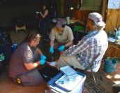 The first aid clinic...working a primitive skills gathering means we saw our fair share of knife, ax, and flint-knapping wounds. The clinic was staffed by a mix of EMT's and herbalists, and was truly a collaborative environment that could offer patients a broad spectrum of care.