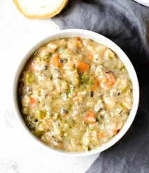 Creamy Vegan Mushroom Soup with Wild Rice