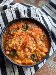 vegan italian peasant stew bread beans kale