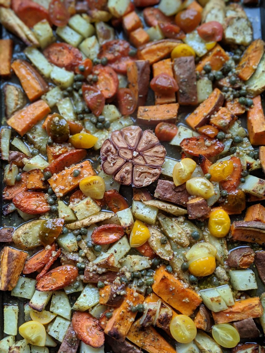 roasted root carrots, potatoes, roots pantry staples dressing healthy vegan gluten free recipes