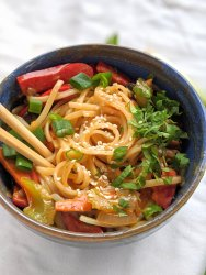 pantry staple recipes spicy vegan peanut sesame noodles