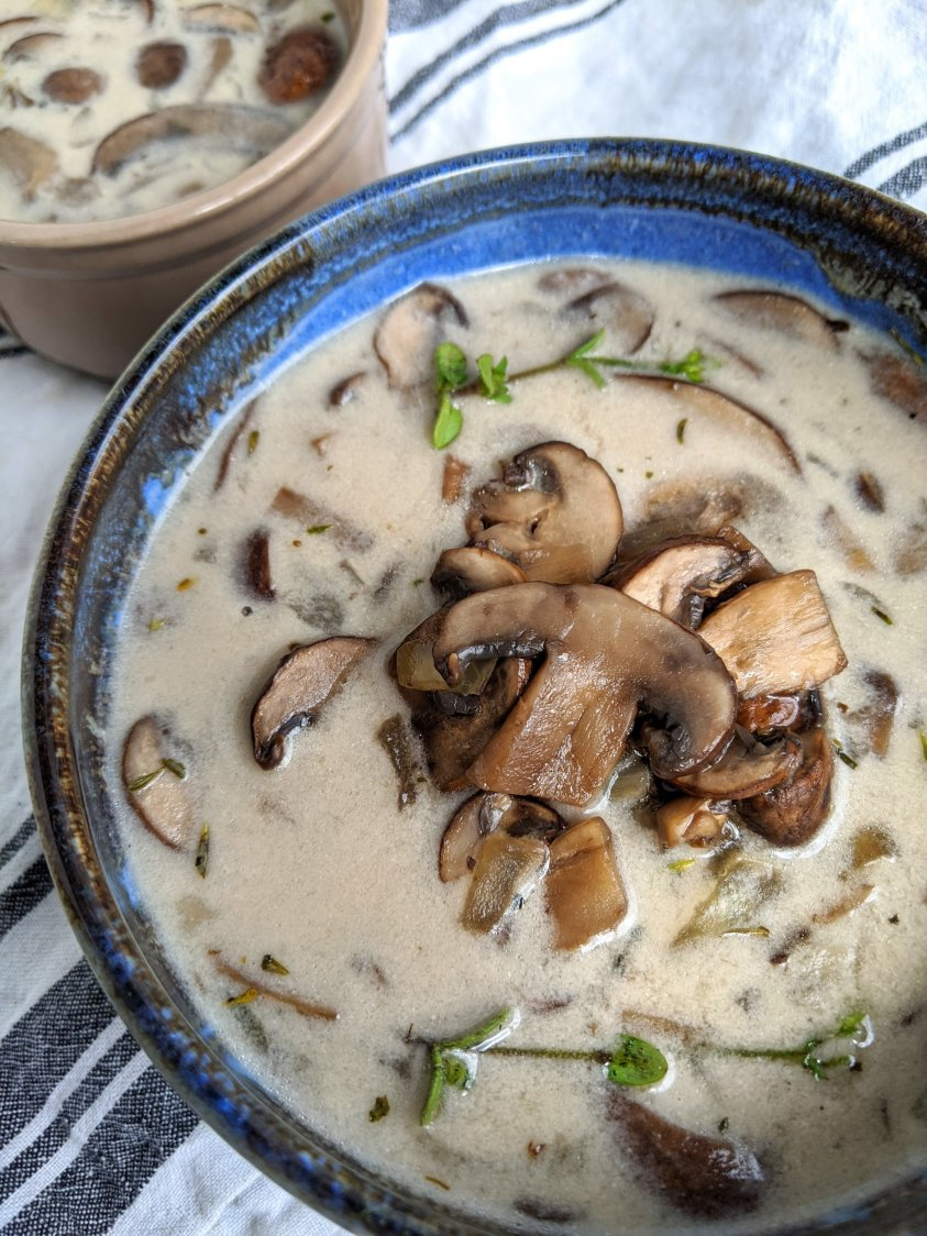 coconut cream of mushroom soup recipe healthy vegan gf non-dairy herbs fresh healthy rich light lite coconut milk recipes