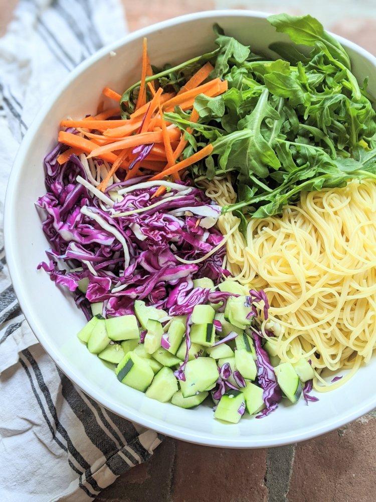 vegan gluten free rainbow pasta salad recipe asian lime dressing soy sauce naturally sweet vegan vegetarian meatless bbq side dish salads gluten free option nut free