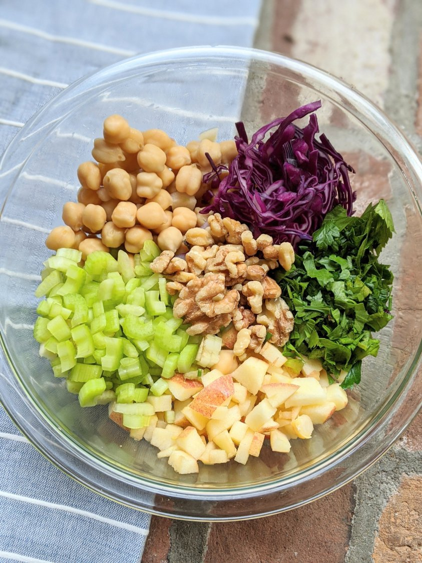 fall apple salad recipe with walnuts and celery vegan gluten free vegetarian winter salad recipes vegan helathy high protein veganuary for potlucks parties bbqs new years salads helathy high protein salads with nuts and beans