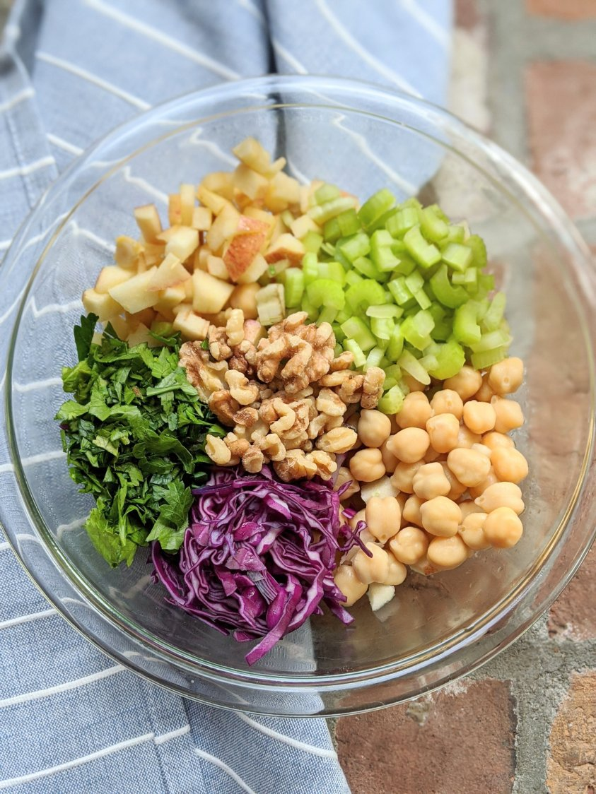 sweet and salty salad recipe vegan gluten free high protein meal prep friendly salads that won't wilt keep their texture chickpeas cabbage apples walnuts celery