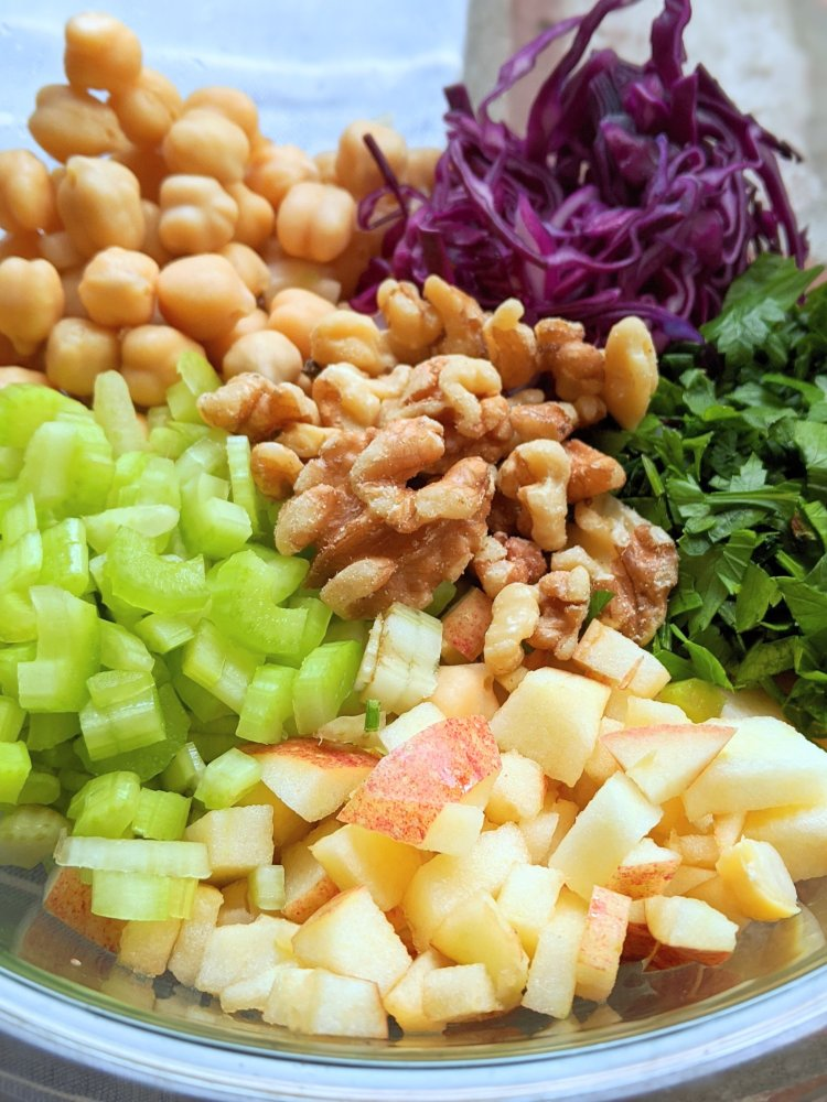 apple celery walnut salad recipe vegan gluten free vegetarian meatless with cabbage and a sweet honey mustard dressing high protein chickpea salad with parsley and nuts