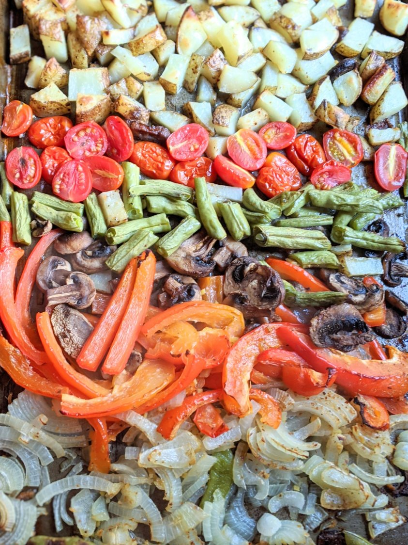 vegetable sheet pan stir fry recipe vegan vegetariana gluten free baked vegetables for fajitas