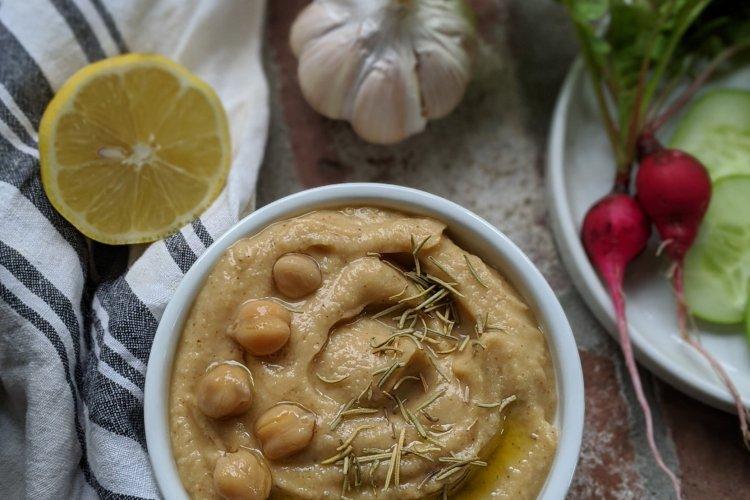 lemon rosemary hummous recipe healthy easy vegan gluten free low calorie no tahini