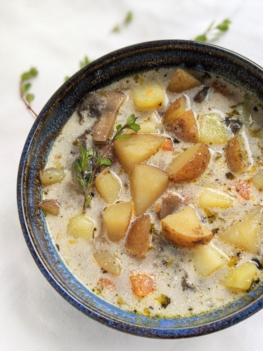 non dairy potato soup recipe vegan vegetarian meatless veganuary healthy low calorie coconut milk no dairy creamy soups