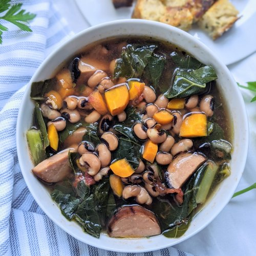 vegan black eyed pea soup with sausage and collard greens recipe healthy new years day recipes gluten free high protein meal prep soup recipes