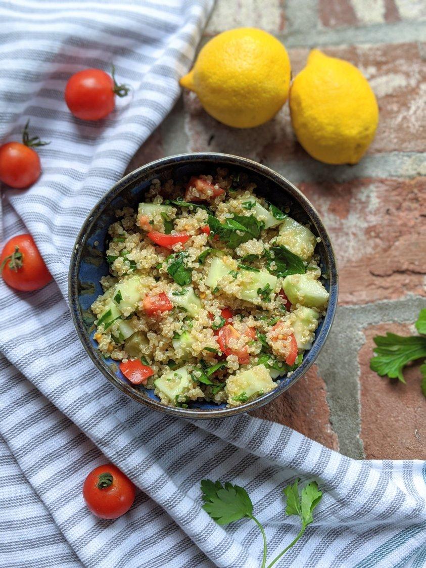 high protein quinoa salad vegan vegetarian gluten free homemade lemon vinaigrette dressing lemony quinoa salad lunch or dinner side dishes