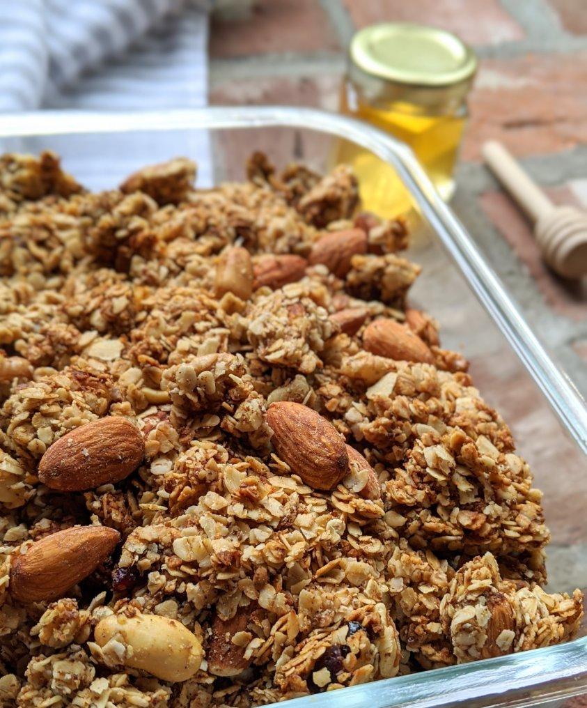 oven baked granola with raw honey recipe healthy vegetarian plant based local honey recipes health benefits gluten free grain free