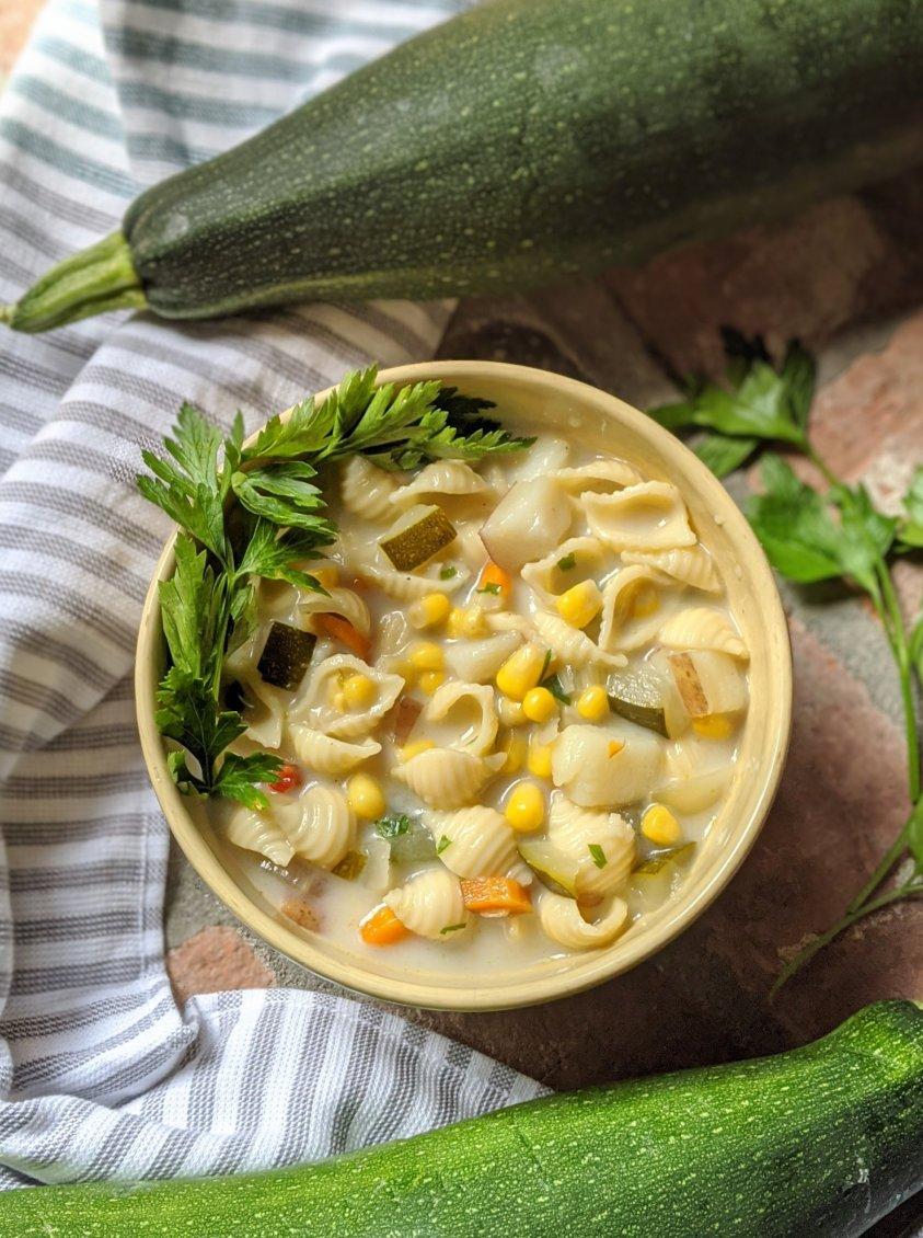 garden zucchin isoup recipe with corn chowder pasta vegan gluten free vegetarian meatless meals plant based meal prep soups in summer chowder recipe with coconut milk