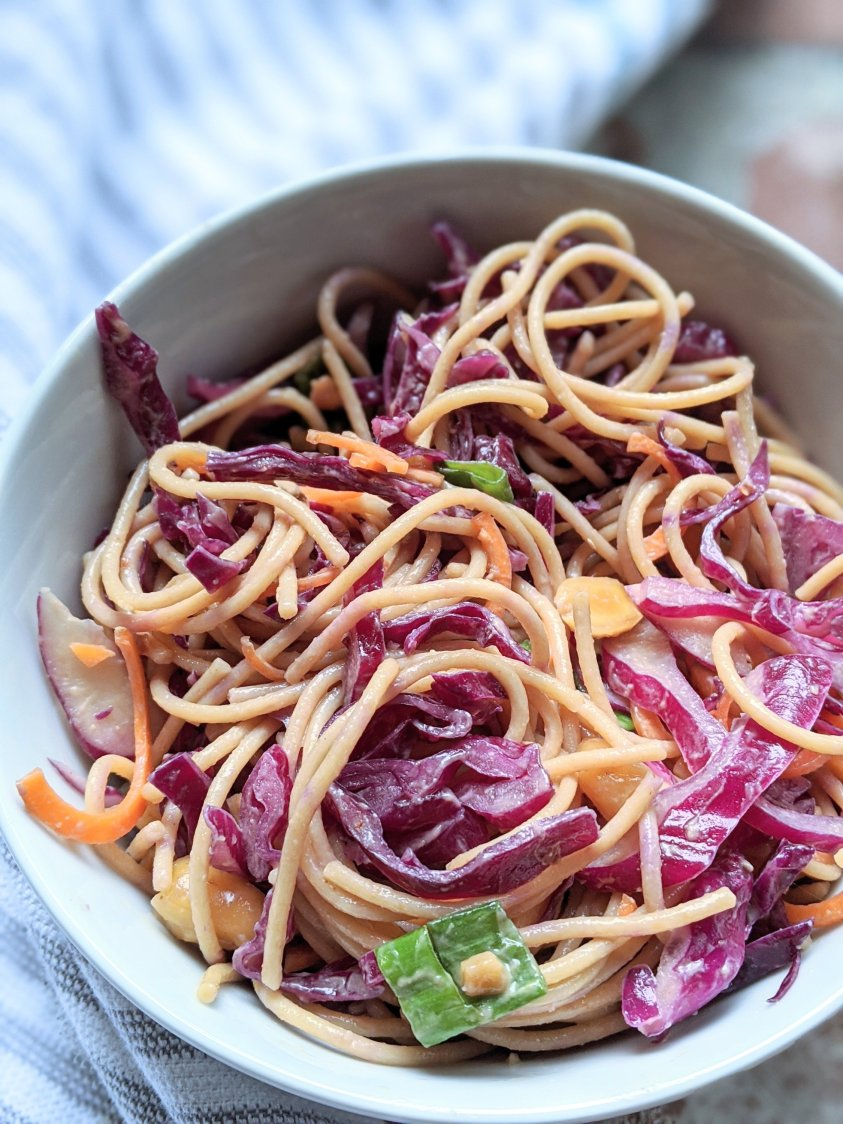 crowd pleaser noodle salad recipes asian pasta salad with rice noodles cabbage healthy vegan vegetarian gluten free ingredients peanut dressing nut free option