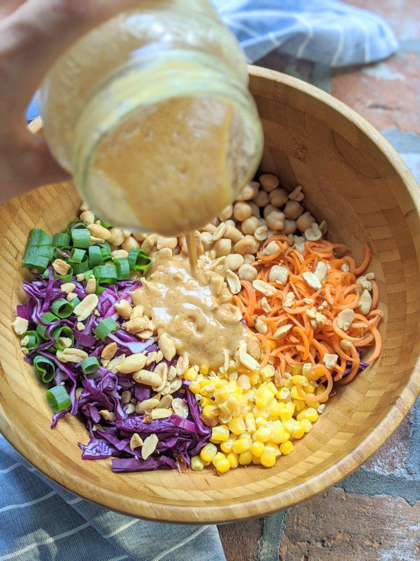 gluten free peanut sauce recipe vegan chickpea salad dressing healthy garbanzo bean recipes canned chickpea salad with pantry peanut sauce recipe