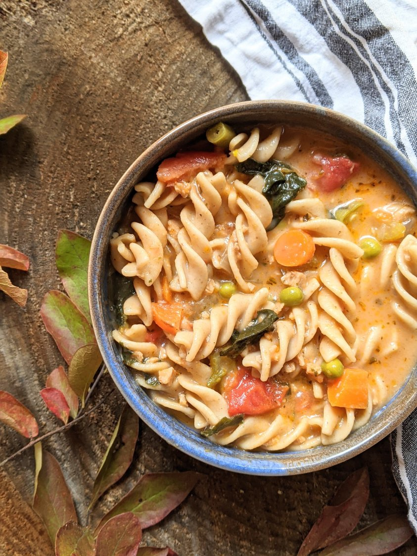 creamy italian vegetable pasta soup recipe rotini whole wheat or gluten free pasta and frozen vegetables veggies peas and carrots minestrone soup with frozen vegetables vegan