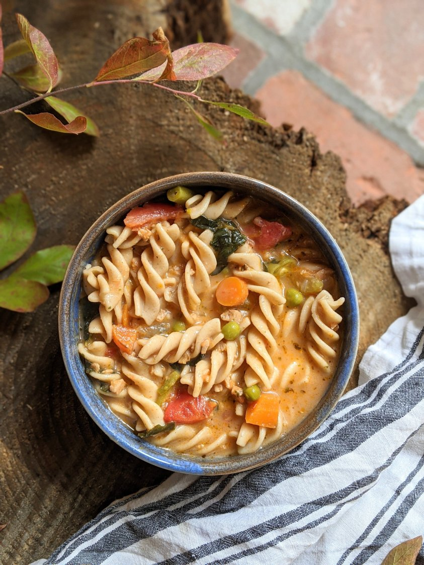 creamy dairy free minestrone soup vegan gluten free vegetarian healthy high protein minestrone soup with pasta recipe