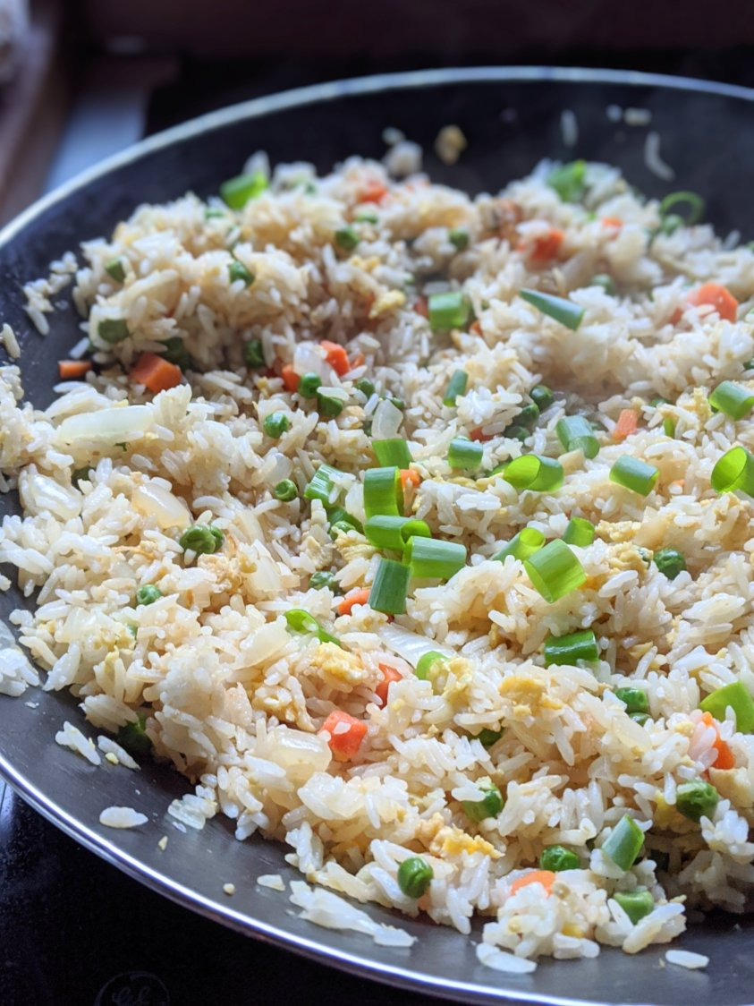 15 minutue fried rice using leftover rice vegan vegetarian healthy gluten free meatless no meat high protein jasmine rice or masmati white or brown leftover rice recipes