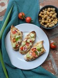 mediterranean hummus toast recipe with quick pickled veggies low sodium vegan snack ideas