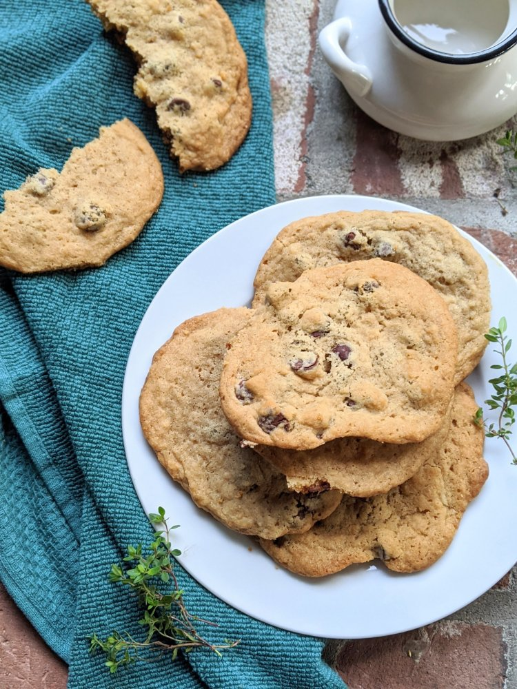 rustic farm house chocolate chip cookies vegan gluten free healthy homemade apple cider vinegar cookies at home vegan baking
