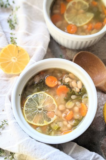 lemony white bean soup recipe healthy with lemon gluten free