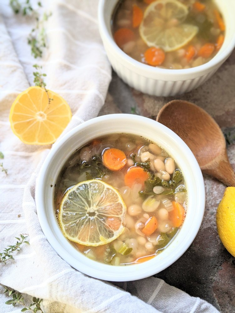 healthy vegan white bean soup recipe with lemon juice lemony bean soup bright fresh spring soup with fresh squeezed lemon bean soups cannellini beans navy beans white beans healthy lima beans recipe