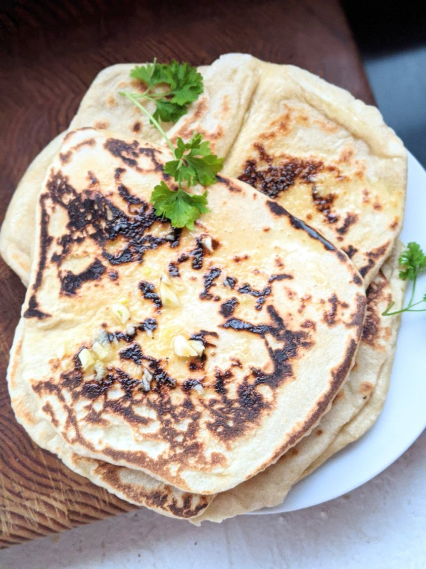 sourdough starter naan recipe to make with sourdough discard flatbread naan flat breads healthy homemade no eggs no dairy almond milk plant based recipes