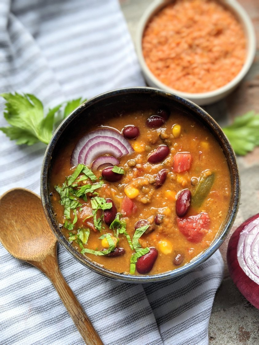 healthy low calorie pumpkin vegetable chili recipe skinny chili no meat vegetarian vegan high protein healhy veganuary gluten free lentil and beans meatless chili recipe best spicy