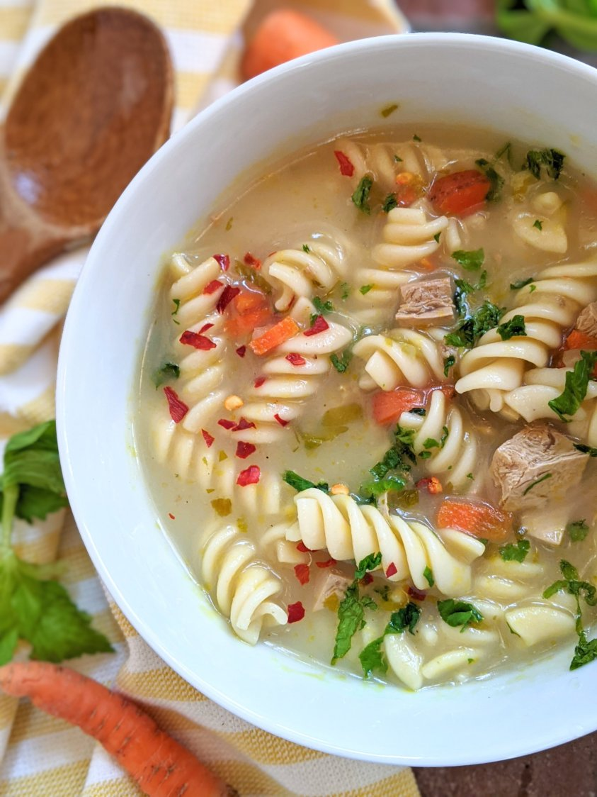 vegan chicken noodle soup recipe healthy high protein gluten free creamy soup with coconut milk and pasta vegetables and tofu