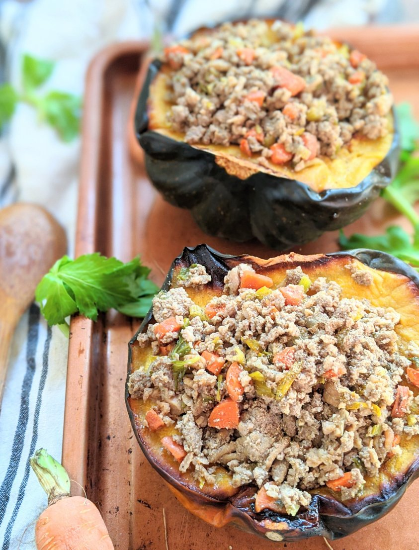 acorn squash stuffed with turkey for thanksgiving leftover recipes keto gluten free low carb
