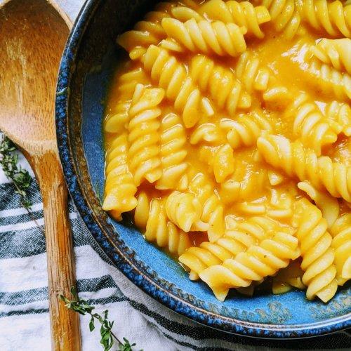 pumpkin lentil pasta vegan gluten free healthy easy pantry staple ingredients