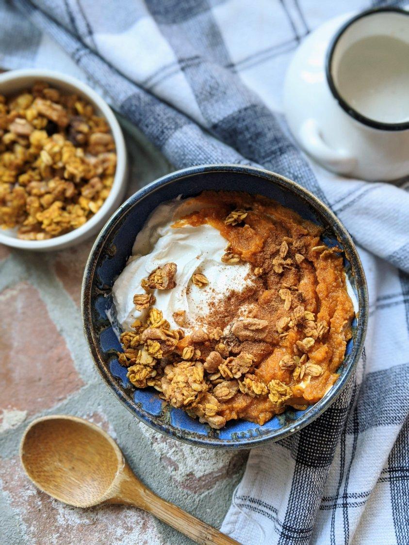 pumpkin granola parfait with yogurt vegetarian vegan no dairy free breakfast ideas with pumpkin