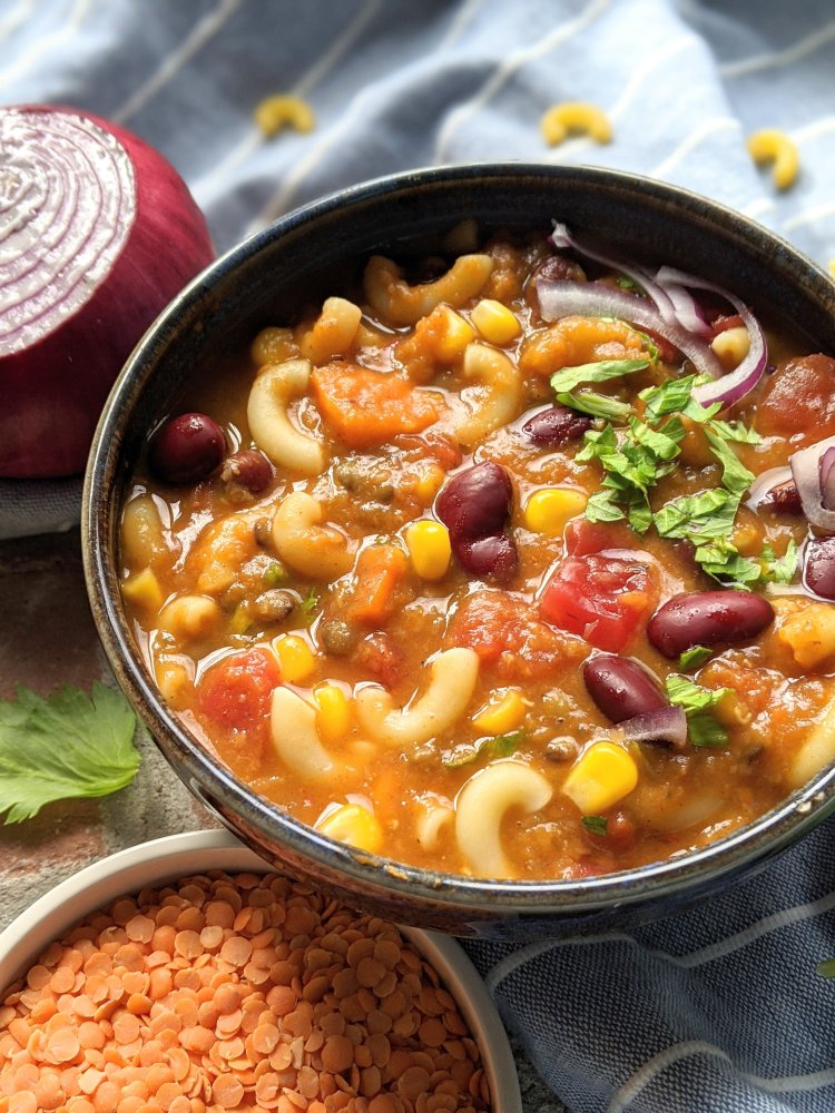 pumpkin chili with macaroni pasta healthy vegan gluten free dinners for families for fall