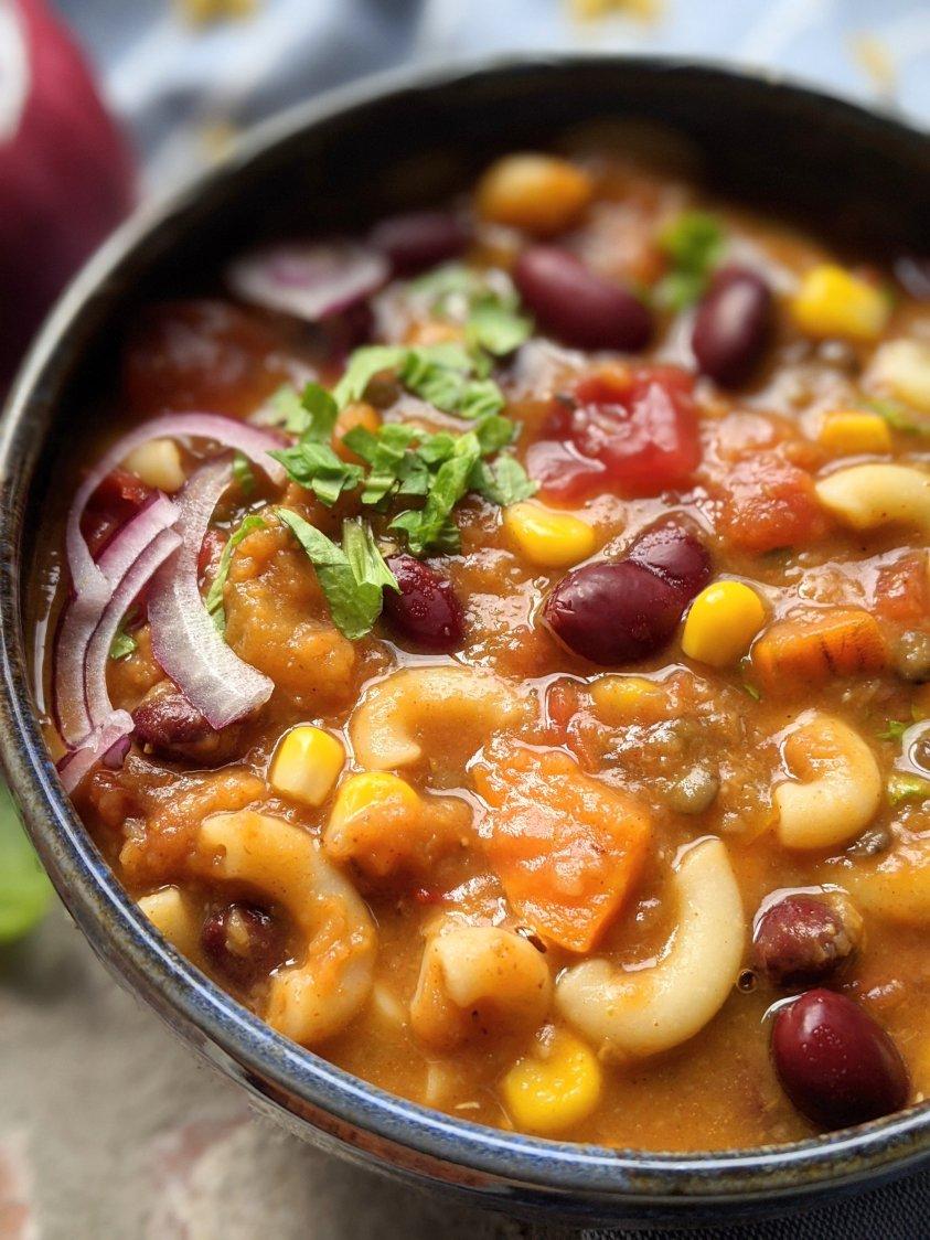 healthy chili mac recipe vegan with pumpkin