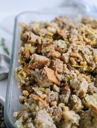 low sodium stuffing recipes with sourdough bread vegan vegetarian meatless plant based sage stuffing
