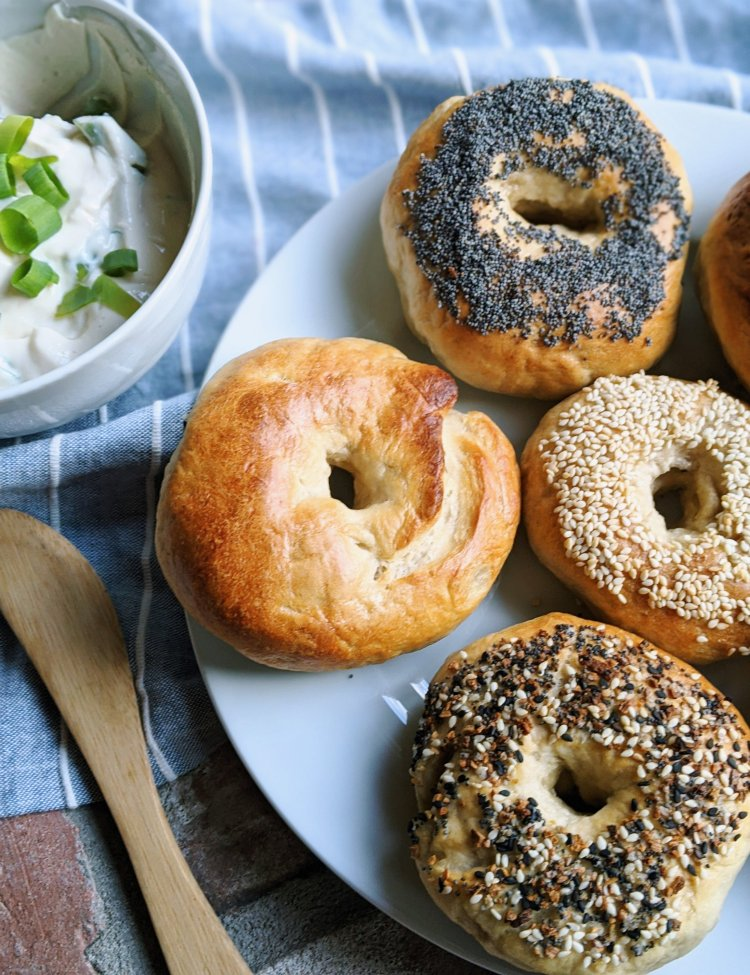 sourdough bagels poppy seed sesame seeds plain everything bagels homemade vegan vegetarian easy oven