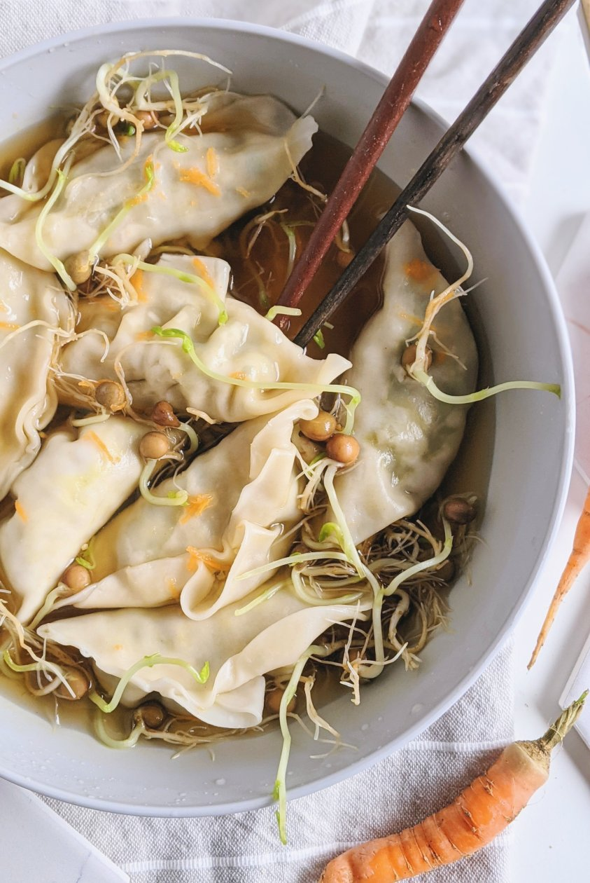 pot stickers in broth healthy vegan veggie vegetarian vegetables low calorie recipes for weight loss low fat flavorful