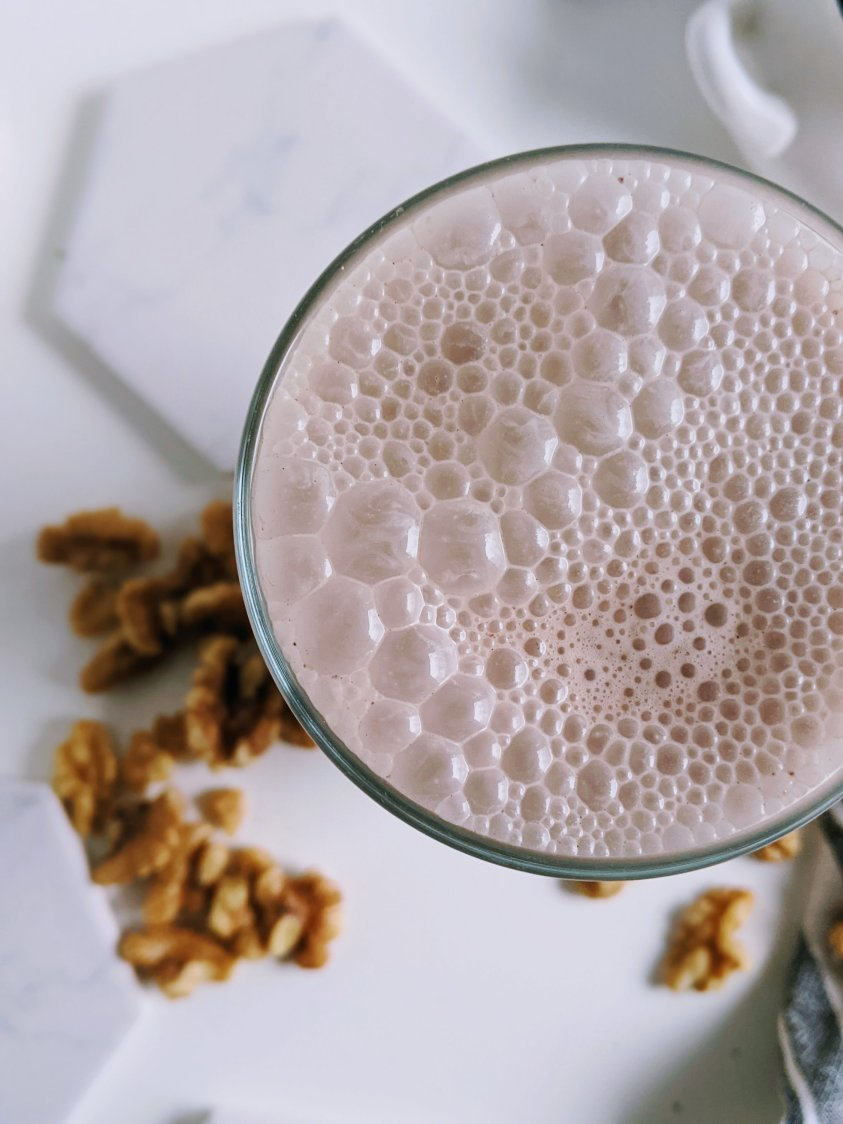 creamy vegan smoothie with nuts protein shake plant based healthy vegan gluten free vegetarian high proteins plants