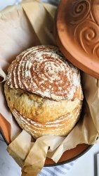 clay pot sourdough bread, how to make sourdough in a clay pot bake in romertopf schlemmertopf loafnest vegan no eggs dairy free