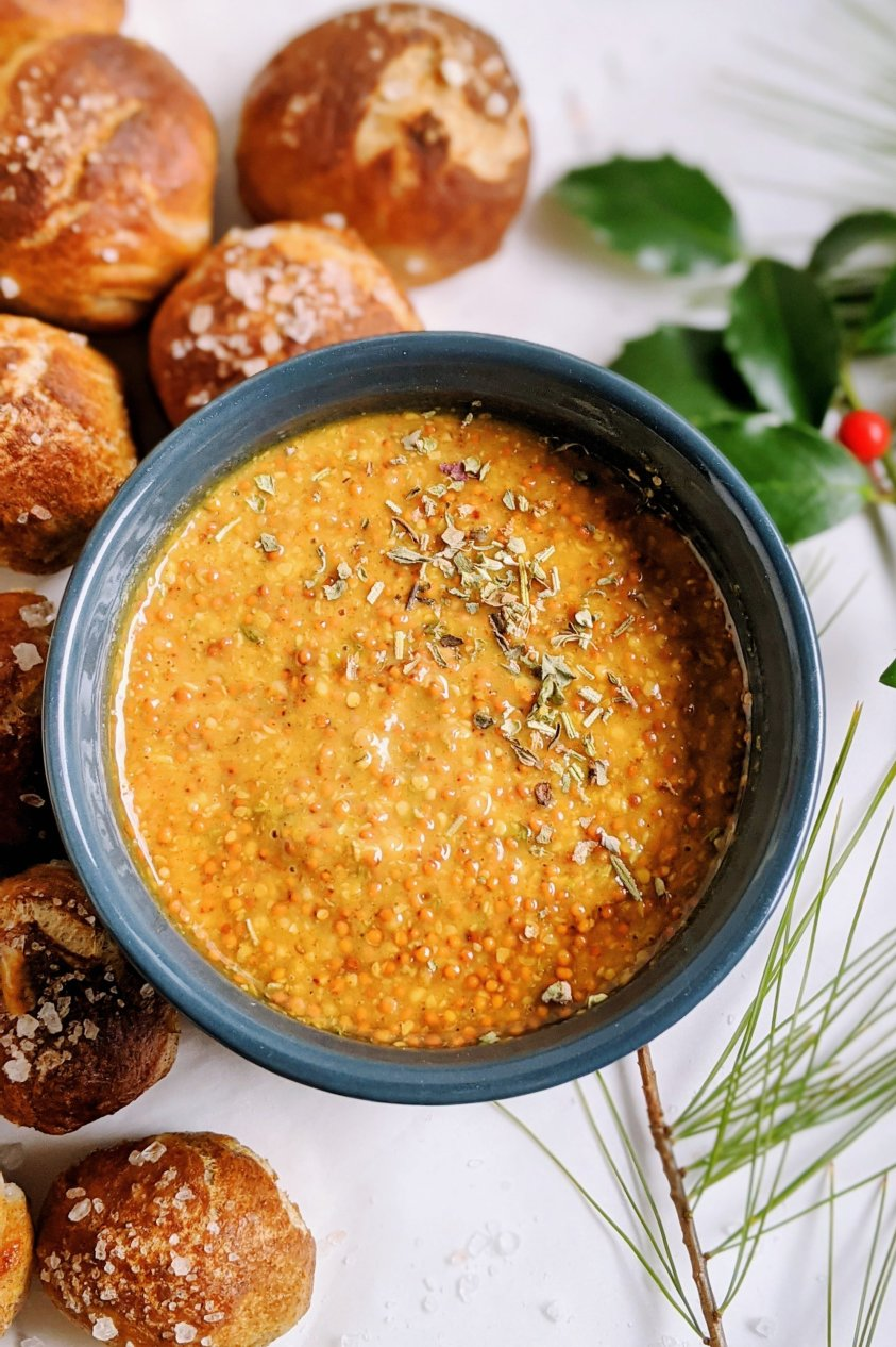 sweet herb mustard dipping sauce with whole grain mustard yellow mustard maple syrup all natrual sweetener and herbs de provance thyme rosemary savory sage lavender