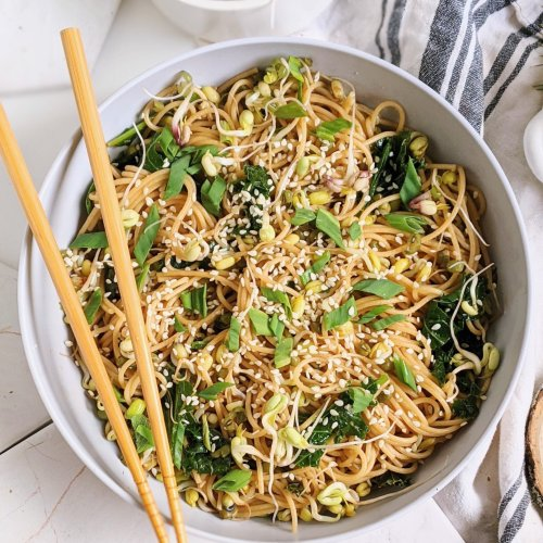 healthy easy vegan garlic noodles with seasme seeds and oil chili oil sriracha noodles easy lunches at home pasta for lunch recipes vegan pantry noodles recipe
